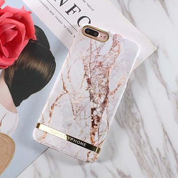 Luxury Gold Stripe Hard Marble Case for iPhones