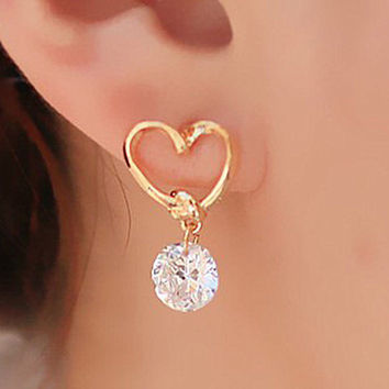 Stud Earing Girl Brinco Pendientes CZ Bijoux Zircon Heart Stud Earrings For Women Wedding Jewelry Accessories Earings -03324