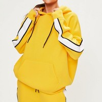 Missguided - Yellow Oversized White Binding Tracksuit Hoodie