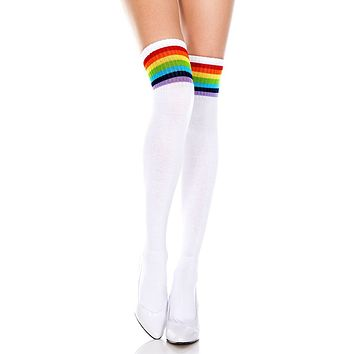 Rainbow and White Striped Thigh High Socks