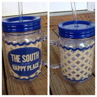 """""""The South Is My Happy Place"""" Plastic Mason Jar Tumbler with Straw"""