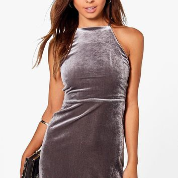 Petite Sia Velvet High Neck Mini Dress | Boohoo