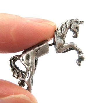 Fake Gauge Earrings: Mythical Unicorn Horse Animal Faux Plug Stud Earrings in Matte Silver