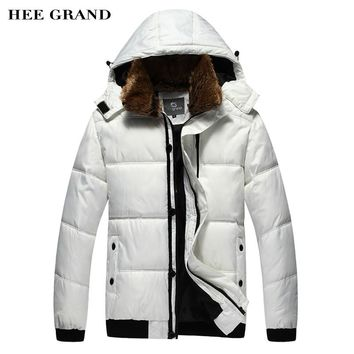HEE GRAND Men Winter Parkas 2018 New Warm Hooded Fur Collar With Detachable Hat Casual Outwear Plus Size M-3XL 2 Colors MWM001