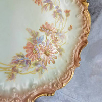 Antique Limoges Handpainted Plate 9 inch, Hand painted Peach Daisy Plate, Vintage Limoges Oval Plate, Shabby Chic Peach Floral Dish 1890