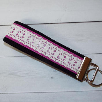 Lace Key FOB / KeyChain / Wristlet  - lace Key strap lace fob - berry pink black