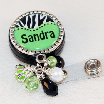 Personalized Zebra Print ID Badge Reel, Name Badge Reel, Custom Name Badge Reel, Medical Badge Reel, Zebra Print Keychain