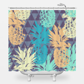 Pineapple on Triangle Shower Curtain