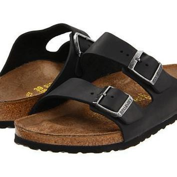 Birkenstock Arizona Sandals Flip Flops Black Oiled Leather - Beauty Ticks