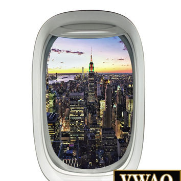 Airplane Window City View Wall Decal Peel and Stick Aviation Mural Wall Decor PW3