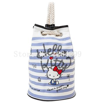 New Fashion Hello Kitty My Melody Girls Canvas Drawstring Backpack Kids School Bags For Children
