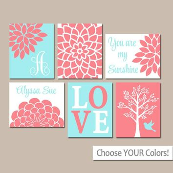 CORAL AQUA Nursery Decor, CANVAS or Prints, Baby Girl Nursery Wall Art, Girl Bedroom, Personalized Girl Wall Decor, Above Crib Art, Set of 6