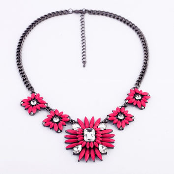 Hot Pink Flower Necklace Pendant
