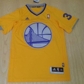 DCCK Golden State Warriors Stephen Curry Yellow youth Christmas  Jersey