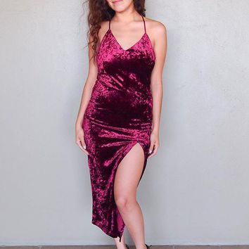 Made You Wink Crushed Velvet Wine Midi Dress