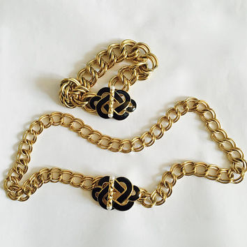 Vintage Trifari ™ Gold Toned, Double Link Necklace Choker and Bracelet with Black Enamel Celtic Knot and Pearl Tipped Toggle Clasp