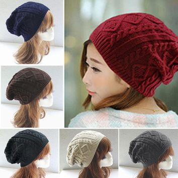 Women Winter Hat Female Warm Wool Caps Twist Pattern Knitted Sweater Fashion beanie Hats Beanies male gorros balaclava chapeu