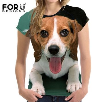 FORUDESIGNS Beagle Printed Female T-shirts Cute Dog Harrier Women T Shirt 2017 Summer Tops Tees Feminine Tshirts Customized New