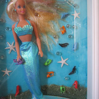 Mermaid with shoes. OOAK Barbie Doll. Wall art Shadow box. Barbie mermaid