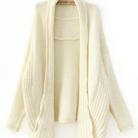 Beige Bat Sleeve Knitting Cardigan$40.00