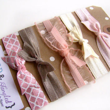 Bink&Brown Pastel Elastic Ties, FOE, Girl Christmas Stocking Stuffer, Girl Small Gift, Pastel Colors, Pink, Brown, Cream, Neutral