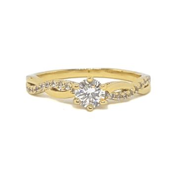 (mrin-615-h6-3) 18kt Gold Overlay CZ Solitaire with CZ Swirl Ring.