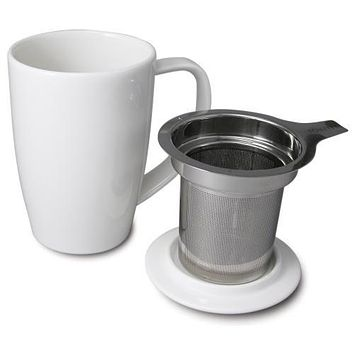 Ceramic Tea Cup with Infuser and Lid