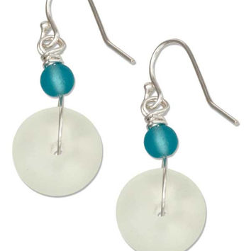 STERLING SILVER CLEAR WHITE ROUNDEL AND ROUND AQUA BEAD SEA GLASS EARRINGS