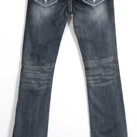 Grace in LA Jeans Bootcut with Blue and Pink Embroidered Pockets JB51016