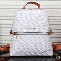Michael Kors Fashion Women Zipper Leather Shoulder Bag Handbag Backpack White I