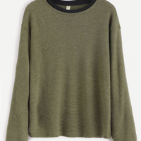 Green Contrast Trim Ribbed Sweater