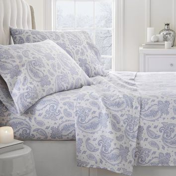 Soft Essentials Premium Paisley Pattern 3 Piece Flannel Bed Sheet Set(Twin - Light Blue) - CASE OF 12