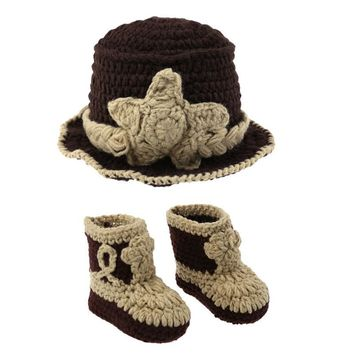 2018 Winter Newborn Baby Photography Props Crochet Knit Baby Hat Shoes Set 2pcs Baby Handmade Outfits Clothes Set 0-6M