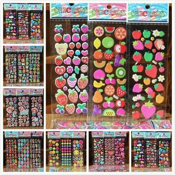 % free shipping 10 Sheets/lot 3D dog cat Bubble Stickers Mixed Cartoon Cars Waterpoof DIY Children Kids Boy Girl Reward Toys