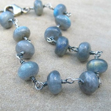 Blue Labradorite Bracelet, Sterling Silver, Wire Wrapped, Under 50