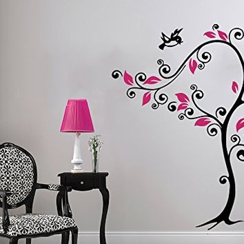 Wall Decal Tree Flowers Birds Cat Vinyl Sticker Decals Lotus Flower Home Decor Bedroom Art Design Interior NS556
