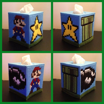 Mario Tissue Box Cover by K8BitHero on Etsy