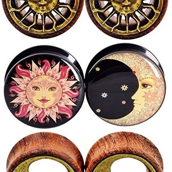 "6pcs 0G-3/4"" Sun Moon Organic Wood & Acrylic Screw Ear Tunnels Plugs Expander Set"