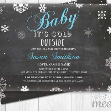 Winter Baby Shower It's Cold Outside Blue Boy Shower Invitation Invite Chalk INSTANT DOWNLOAD Christmas Personalize Party Editable Printable