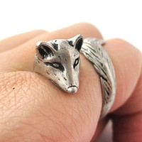 3D Fox Wrapped Around Your Finger Shaped Animal Ring in Silver | US Size 5 to 9