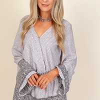 Together At Last Print Romper Ice Grey