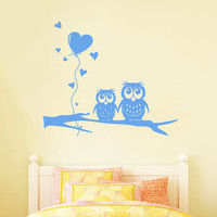 Wall Decals Owl on Branch Childrens Decor Kids Vinyl Sticker Balloon Heart Wall Decal Nursery Baby Room Bedroom Playroom - Owl Decor SV6005