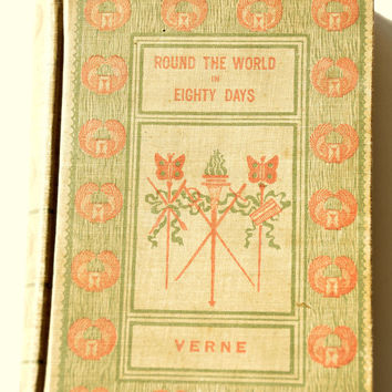 Around (Round) the World in Eighty Days by Jules Verne. Tour of the World in Eighty Days. First Edition. Victorian Fiction Antique Hardcover