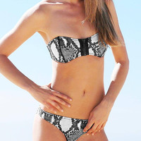 Snake Printed Zippered Bandeau Bikini