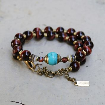 "Red Tiger's Eye ""Prosperity and Protection"" Mala Choker"
