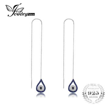 JewelryPalace Fashion 0.39 ct Created Blue & Black Spinel Threader Earrings 925 Sterling Silver Charms Water Drop Fine Jewelry