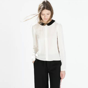 White Peter Pan Collar Long-Sleeve Button Chiffon Blouse