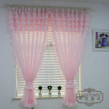 Rustic Purple Pink Curtain Window Screening for Children Princess Bedroom,Jacquard Tulle Blind with Scollop Lace