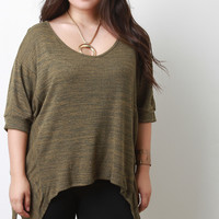 Marled Knit Sharkbite Dolman Sleeves Top