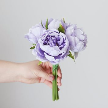 """Peony Faux Wedding Bouquet in Lavender - 9.5"""""""